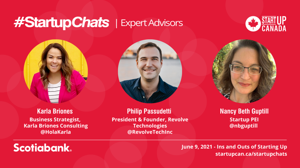 Revolve Technologies has been invited as an expert advisor on Startup Canada's Twitter chat #StartupChats on June 9, 2021.
